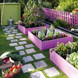 painted raised garden beds. love the walkway too.