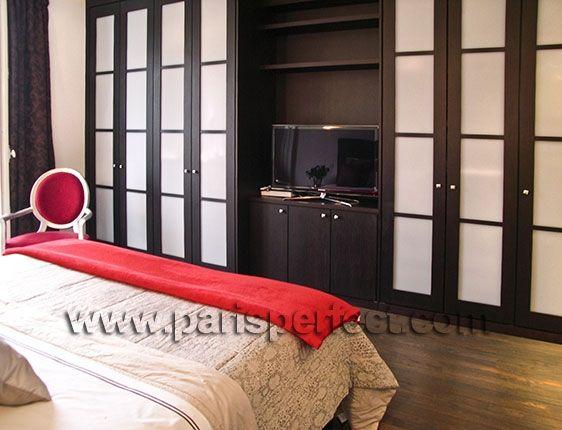 Wall closet bedroom closet spaces pinterest for Flat screen tv bedroom ideas