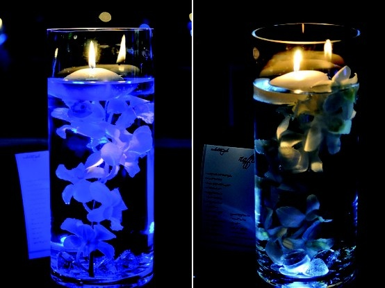 Led Lights For Wedding Decorations : Centerpiece with LED lights  Wedding Ideas  Pinterest