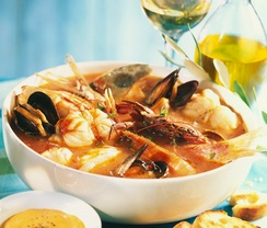 Bouillabaisse soup from Provence is garnished with rock fish (at least ...