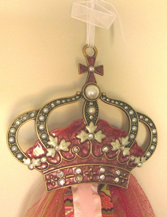 chic crystal princess crown tutu hair bow holder