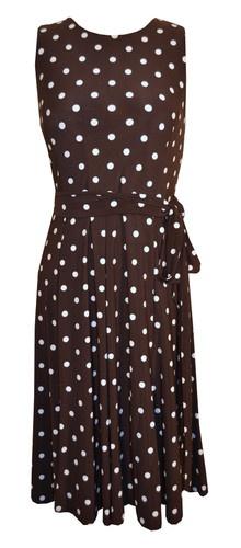 Ralph Lauren Brown White Polka Dot Dress