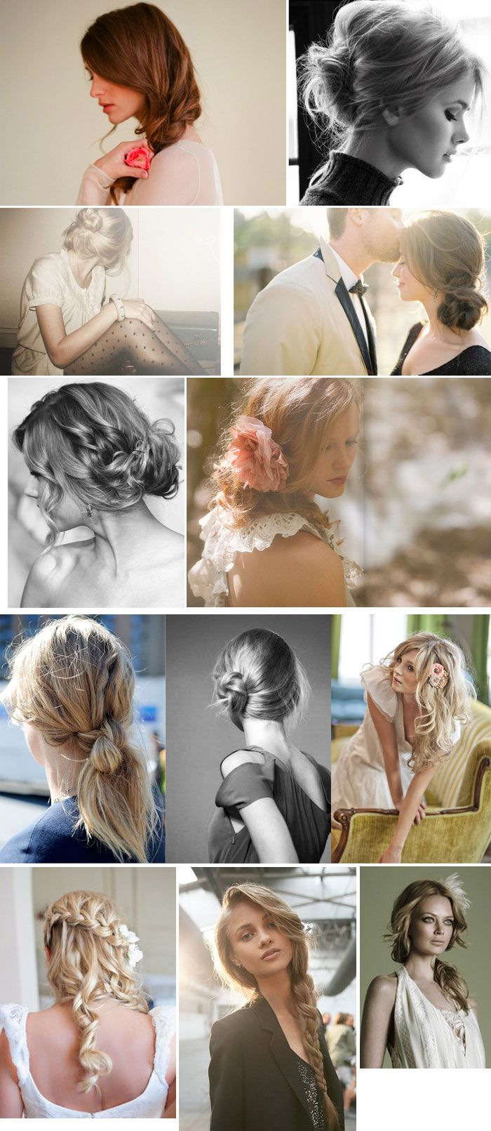 Easy, effortless messy chic hairstyles for the big day. Really digging the loose side braids.
