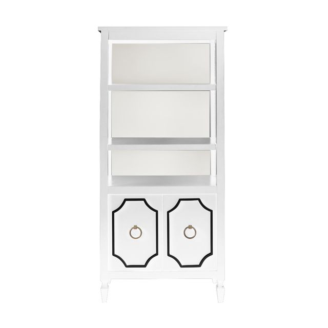 Beverly Bookcase in White with Black Trim - this bookcase provides the perfect storage solution for your glamorous nursery.