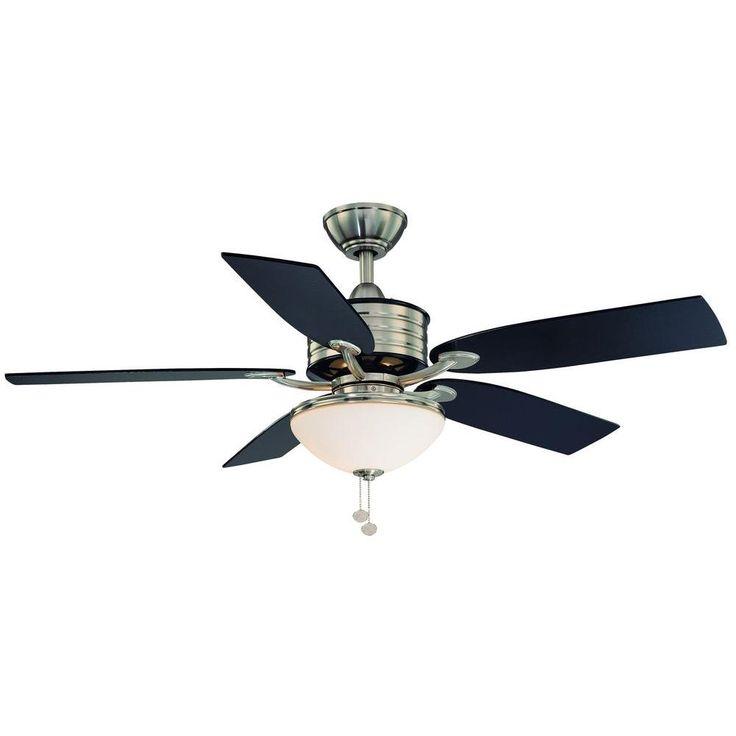 Santa Cruz 52 in Brushed Nickel Ceiling Fan with Black