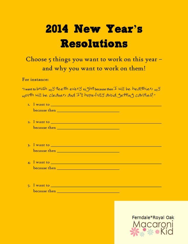 """... for """"New Year Resolution Worksheet For Kids"""" – Calendar 2015"""