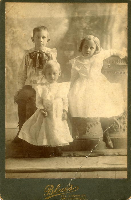 My Great-Grandmother, Clara Sandberg, with her brothers Carl (older) and Martin (younger).