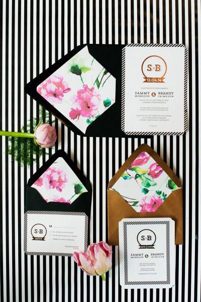 Modern stripes + florals invitations