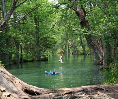The Blue Hole, Wimberley, TX  In Texas, swimming holes are synonymous with summer. And the Blue Hole in Wimberley is probably the quintessential example