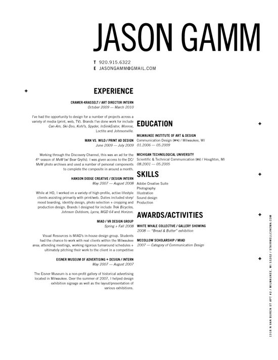 curriculum vitae basic layout