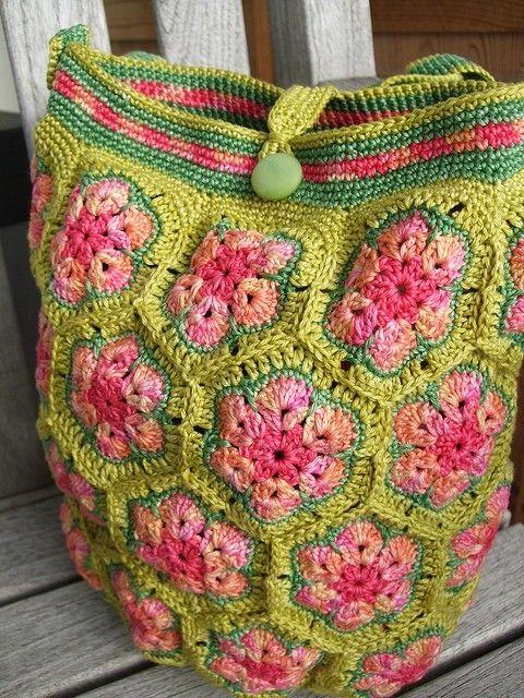 Crochet African Flower Pattern Free : African flower bag Crochet Pinterest