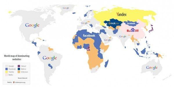 El mapa del mundo de los sitios mas visitados