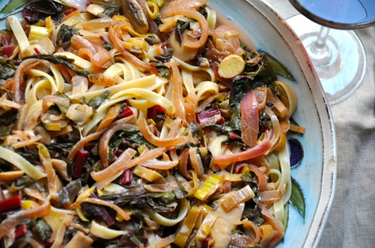 Fettuccine with Leeks, Swiss Chard, Mushrooms and Red Onion in a ...