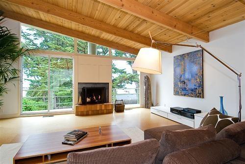fireplace in wall of window