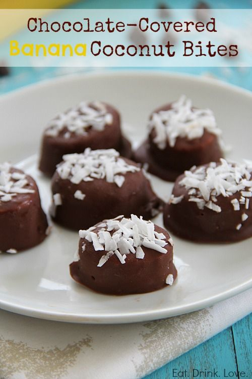 Chocolate-Covered Banana Coconut Bites