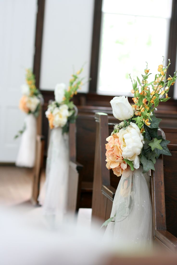 Church Decorations for small country church wedding in ivory and peach ...