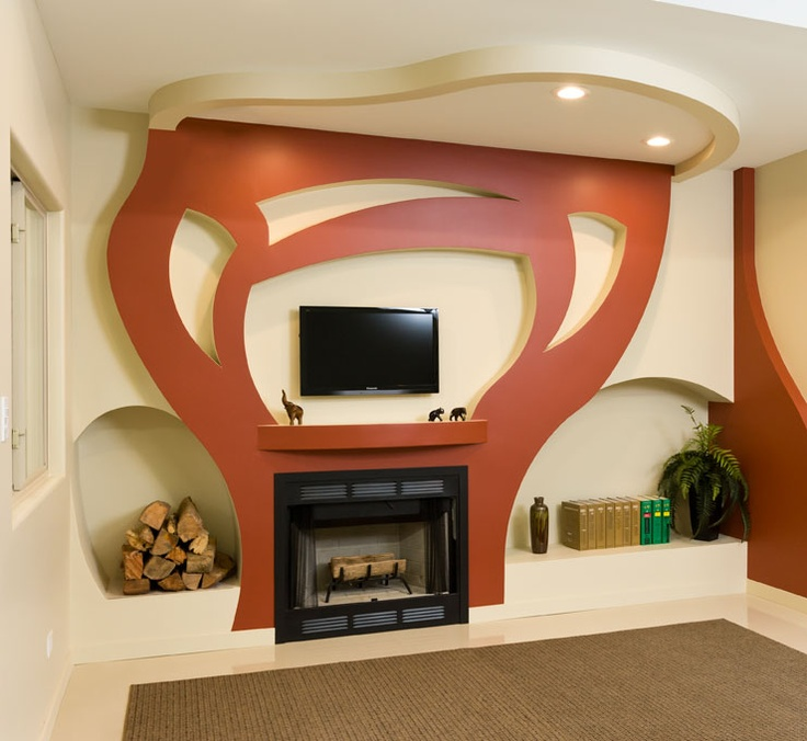 Plasterboard Remodeling : Custom Fireplace created from drywall and Trim-Tex vinyl bead. Details ...