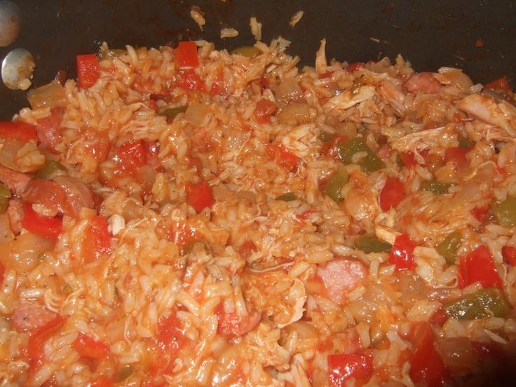 jambalaya!! I used sausage and shredded chicken instead of shrimp ...