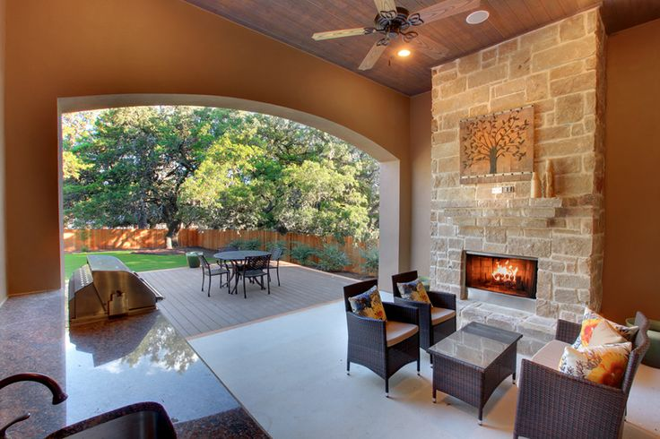 Covered patio and outdoor fireplace decks and pools for Covered patio with fireplace