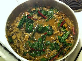 Mushroom Gravy with Red Chard. Perfect over rice, quinoa, or millet.