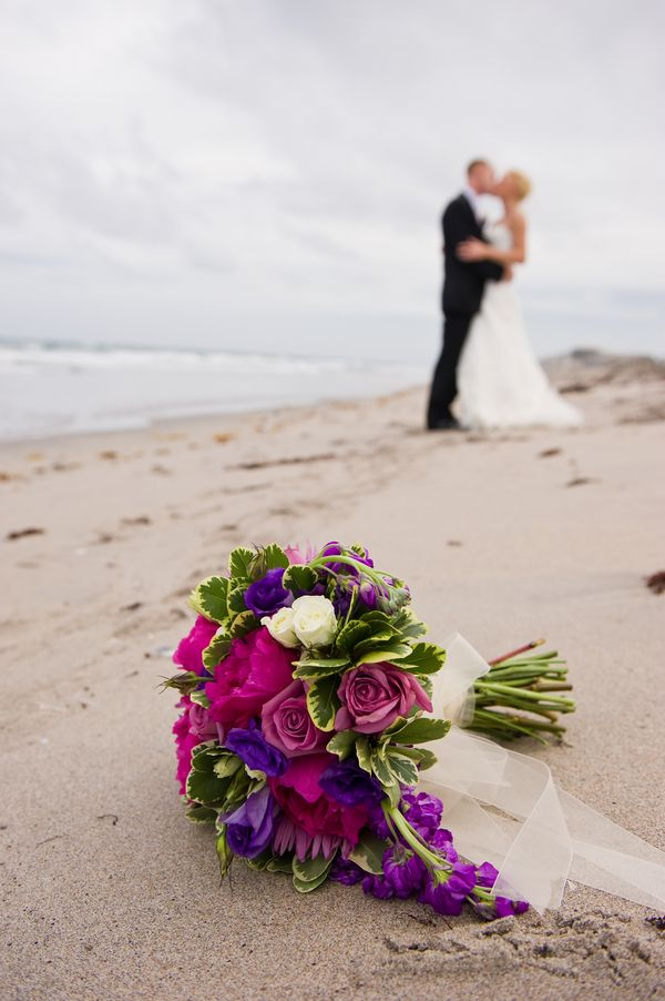 Real Wedding Colorful Beach Wedding Flower Arrangements Bouquets
