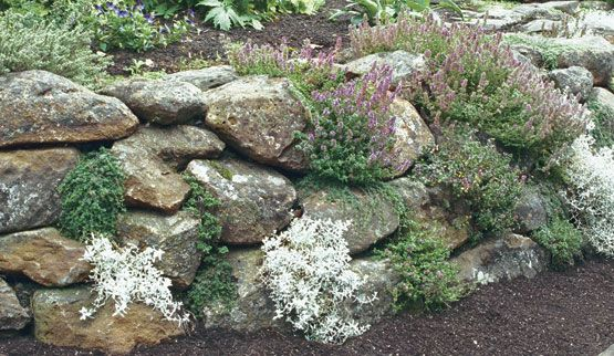 Rock garden retaining wall outdoor spaces gardening for Rock wall garden