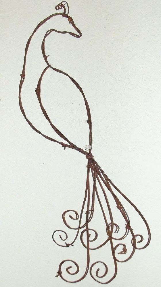 Barbed wire pretty as a peacock rustic spring country wall for Wire art projects