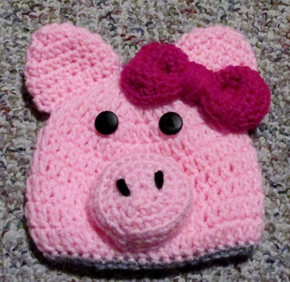 Crochet pig hat with pink detachable bow any size newborn ...