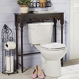 Table over the toilet decorating ideas pinterest for Over the toilet decor
