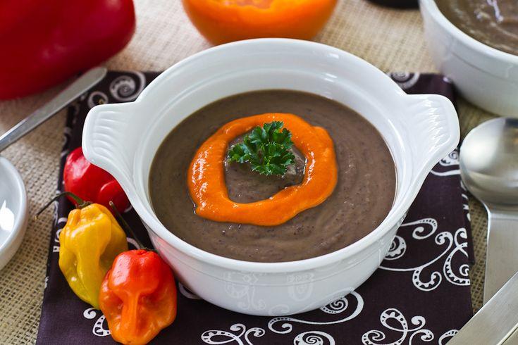 Black Bean Soup With Hot Roast Pepper Cream for #SundaySupper - Lovely ...