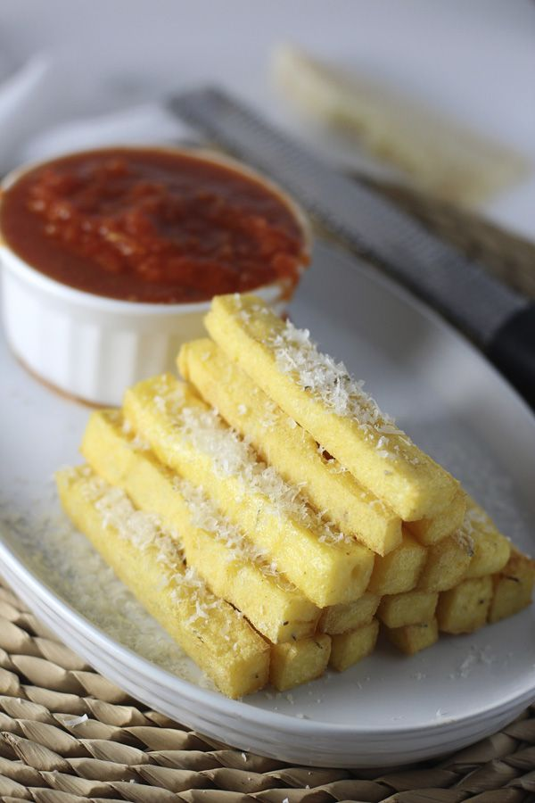 Crispy Baked Polenta Fries with Spicy Tomato Sauce via cookingforkeeps ...