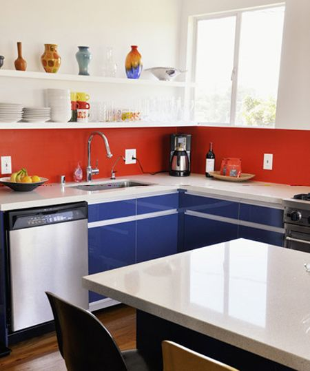 Painted red backsplash Not wild about the cleanup, but the colors are