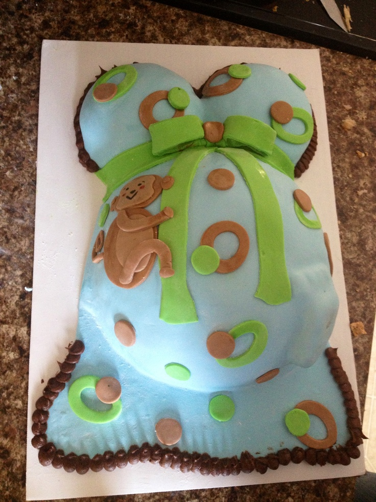 Monkey theme belly cake baby shower idea pinterest - Baby shower monkey theme cakes ...