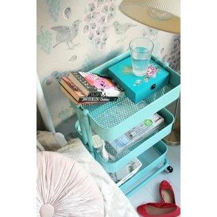 -IKEA - RASKOG Kitchen cart, turquoise, Raskog Metal Rolling bedroom hall