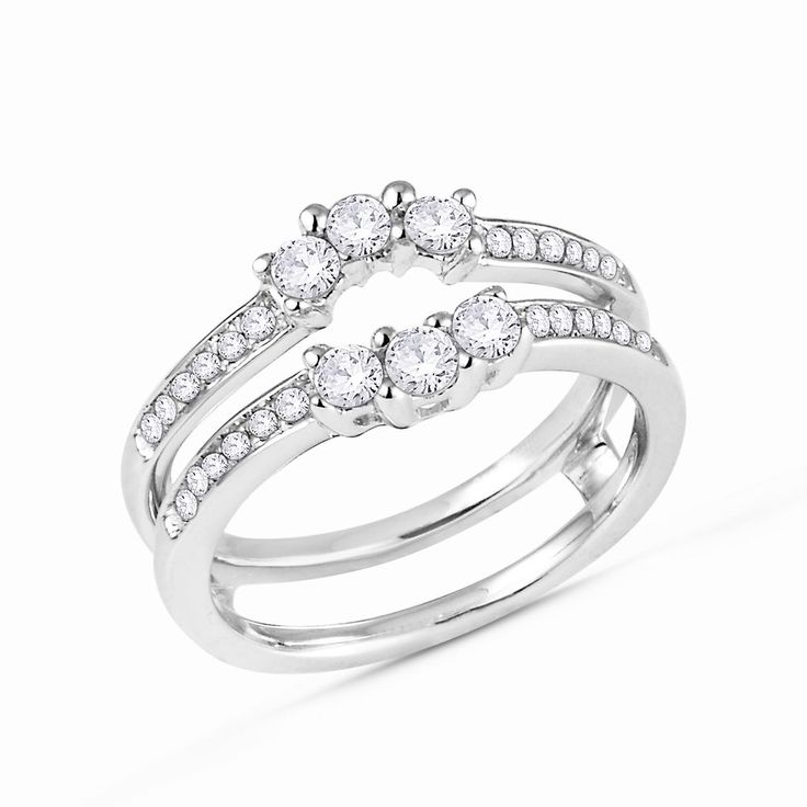 stone round diamonds ring guard wrap solitaire enhancer 14k white g