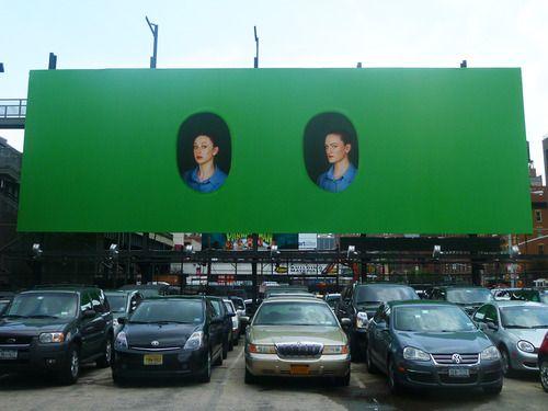 "Elad Lassry's photo installation ""Women (065, 055)"" (2012).  High Line, Chelsea."