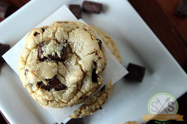 Salted Brown Butter Chocolate Chunk Cookies - Skinny Not Skinny