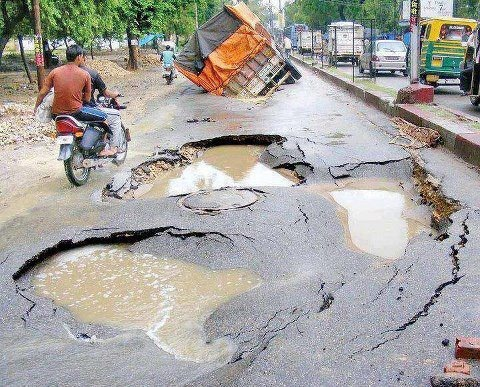Indian roads in monsoon