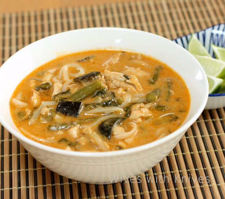 Thai Red Curry Coconut Soup with Chicken and Vegetables Wives with ...