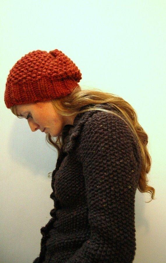 KNITTING PATTERN // Autumn // hat seed stitch super bulky PDF