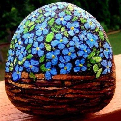 Hand painting flowers fairies on garden rocks - Painting rocks for garden ...