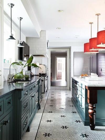love teal, red, black, brown, white!  Kitchens  Pinterest