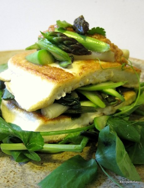 Fried Tofu With Spring Vegetables And Peanut Sauce Recipe — Dishmaps