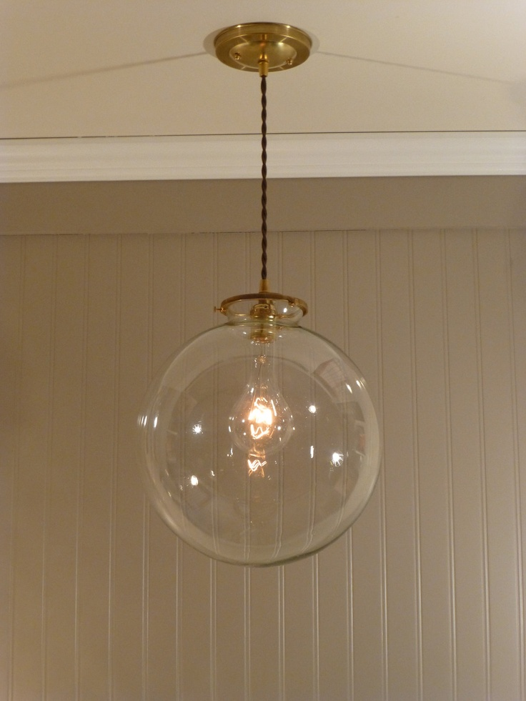 Brass Pendant Light With A 12 Inch Clear Glass Globe