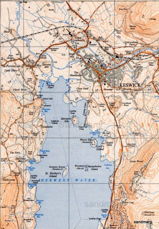 Keswick United Kingdom  City pictures : Vintage Map of Keswick Cumbria United Kingdom Urban and Regional Derw ...