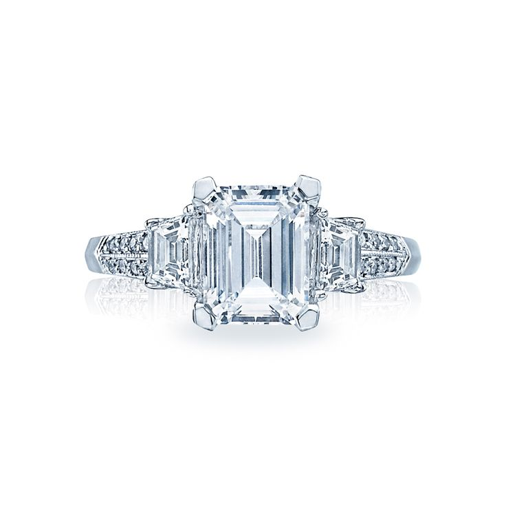 emerald cut three engagement ring tacori