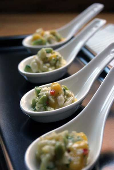 Scallop Ceviche Spoons with Avocado and Mango