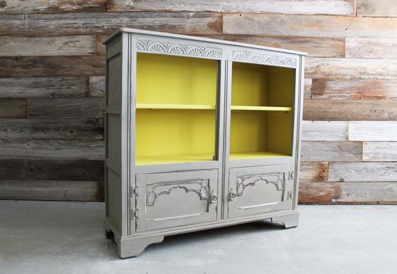 Painted Vintage Yellow And Gray Modern Cabinet Bookshelf