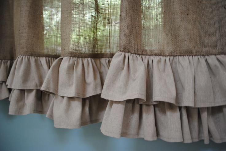 Burlap Ruffled Cafe Curtain. $50.00, via Etsy.
