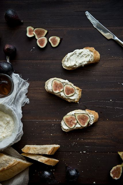 Fig, honey, & ricotta tartines. by Two Red Bowls, via Flickr
